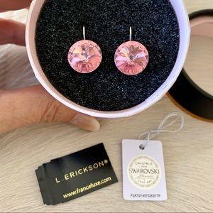 France Luxe L. Erickson pink Swarovski earrings